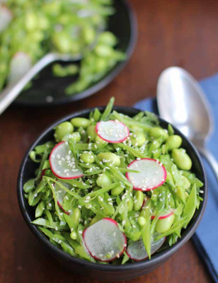 RSFFM Thai Sesame Snow-Pea-Radish-and-Edamame-Salad in bowl
