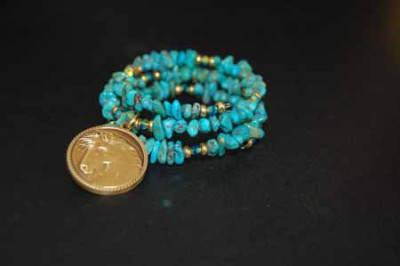RSFFM run with wild horses Turquoise Wrap Bracelet